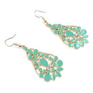 NEW Gold Tone Turquoise Dangle Earrings
